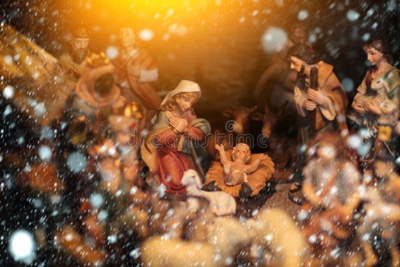 Figurines de naissance d'enfant de Noël réglées photographie stock libre de droits