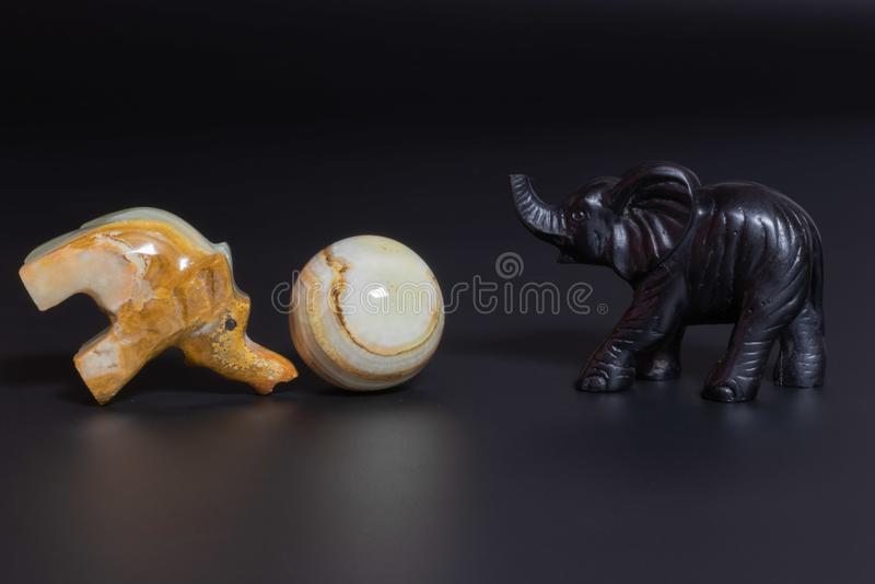 figurines elephants playing royalty free stock photo