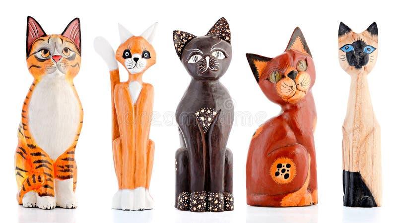 Figurines en bois, figurines décoratives, chats, photo libre de droits