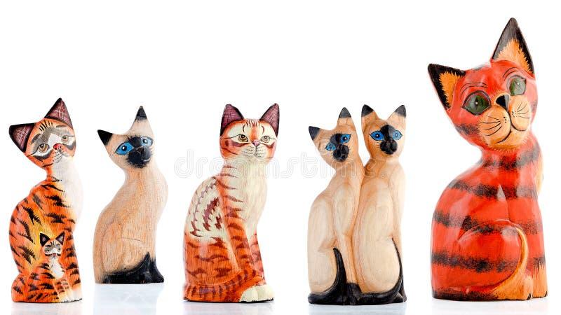 Figurines en bois, figurines décoratives, chats, images libres de droits