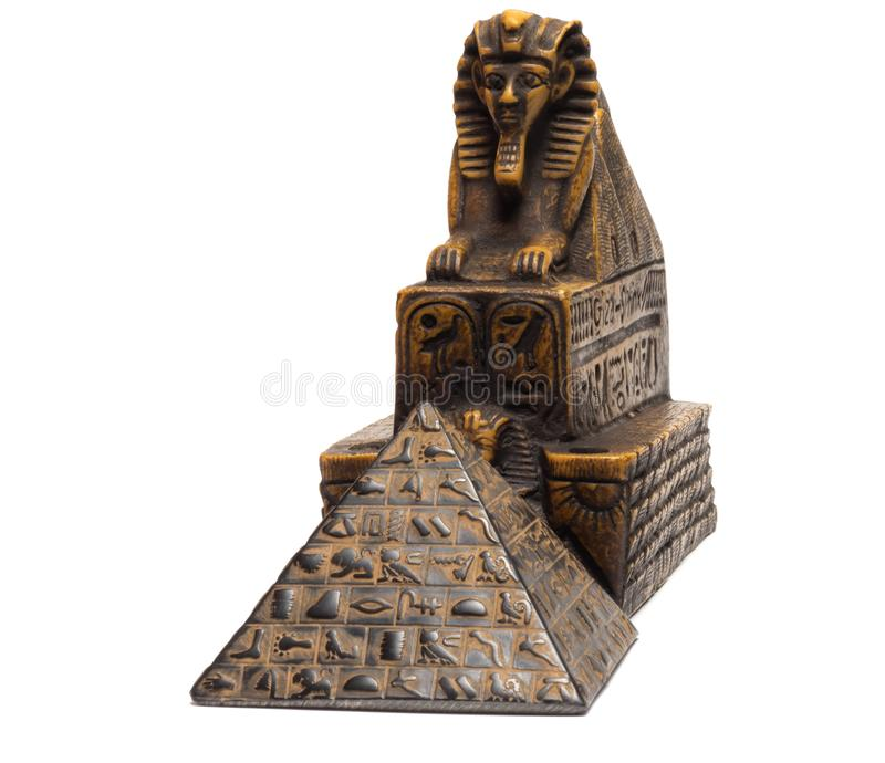 figurines of the sphinx and the pyramids stock photo