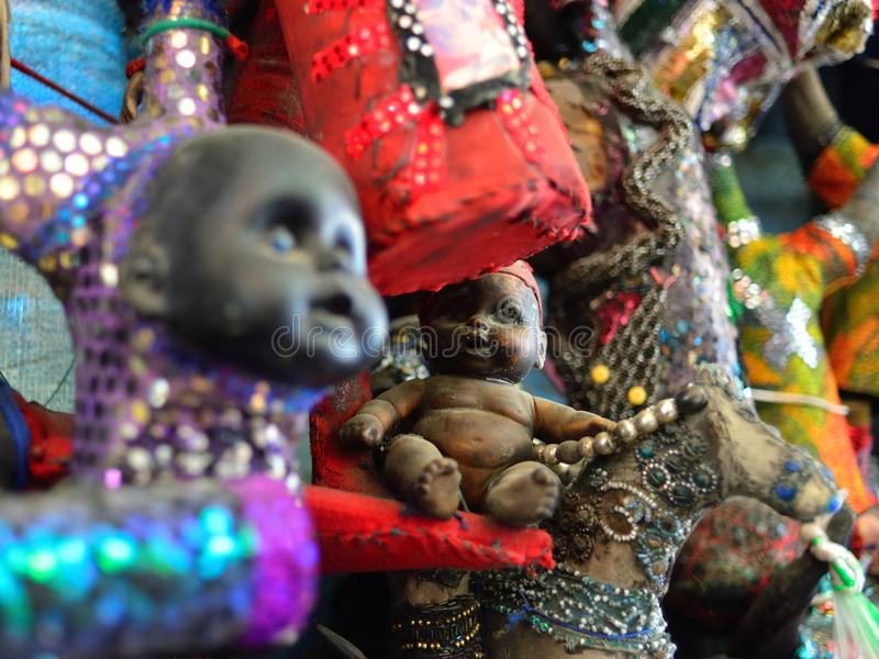 Figurines Voodoo in Haiti. Figurines voodoo on Iron Market in the centre of capital city Haiti stock image