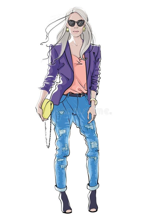 Figurino disegnato a mano Bella donna con capelli lunghi in abbigliamento casuale Illustrazione di vettore su bianco illustrazione di stock