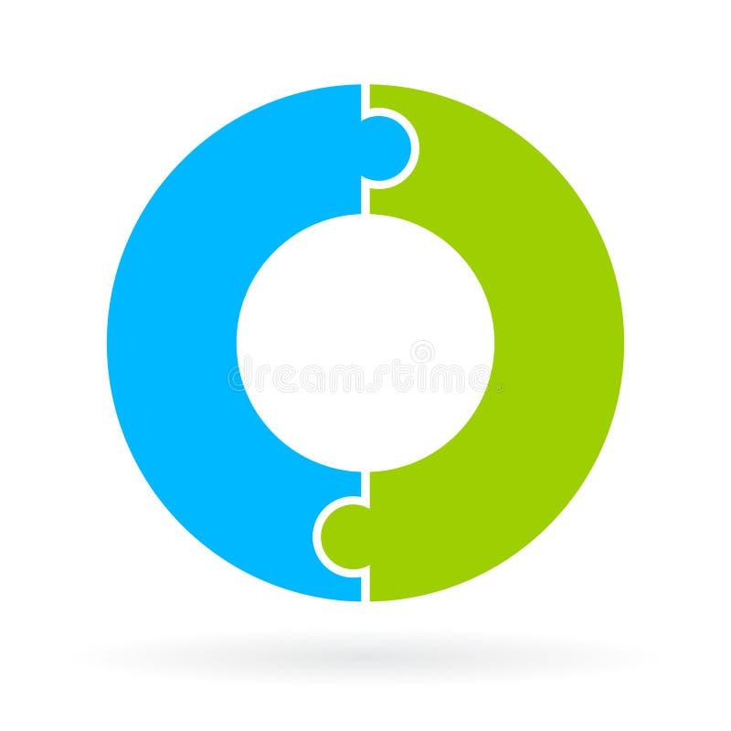 Figursågcirkel för två del stock illustrationer