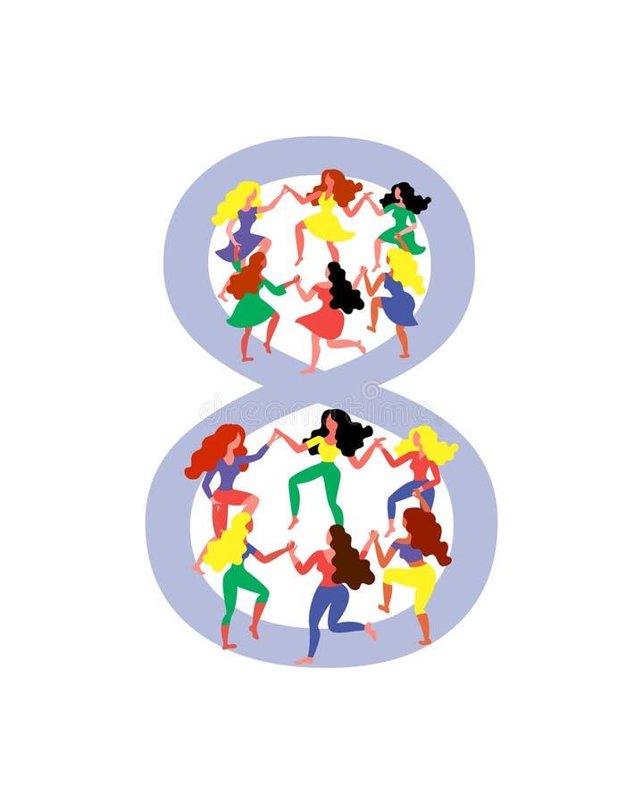 Figuur 8 door dansende vrouwen wordt omringd die De vrouwen dansen in figuur 8 Vectorillustratie voor de dag van vrouwen stock illustratie