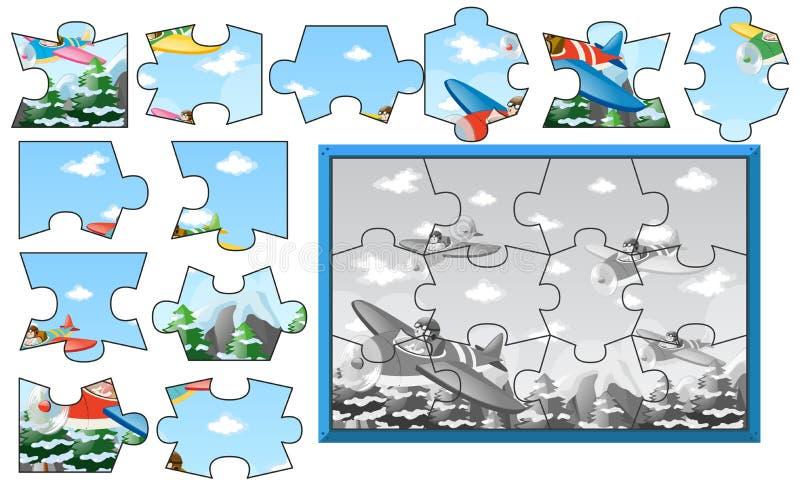Figuurzaagstukken vliegtuigen in hemel royalty-vrije illustratie