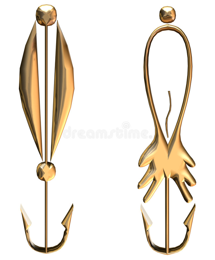 Fiishing hooks stock illustration