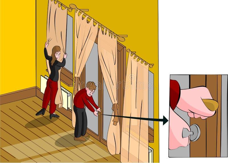 Fijación de las cortinas cerradas de la puerta de atrás stock de ilustración