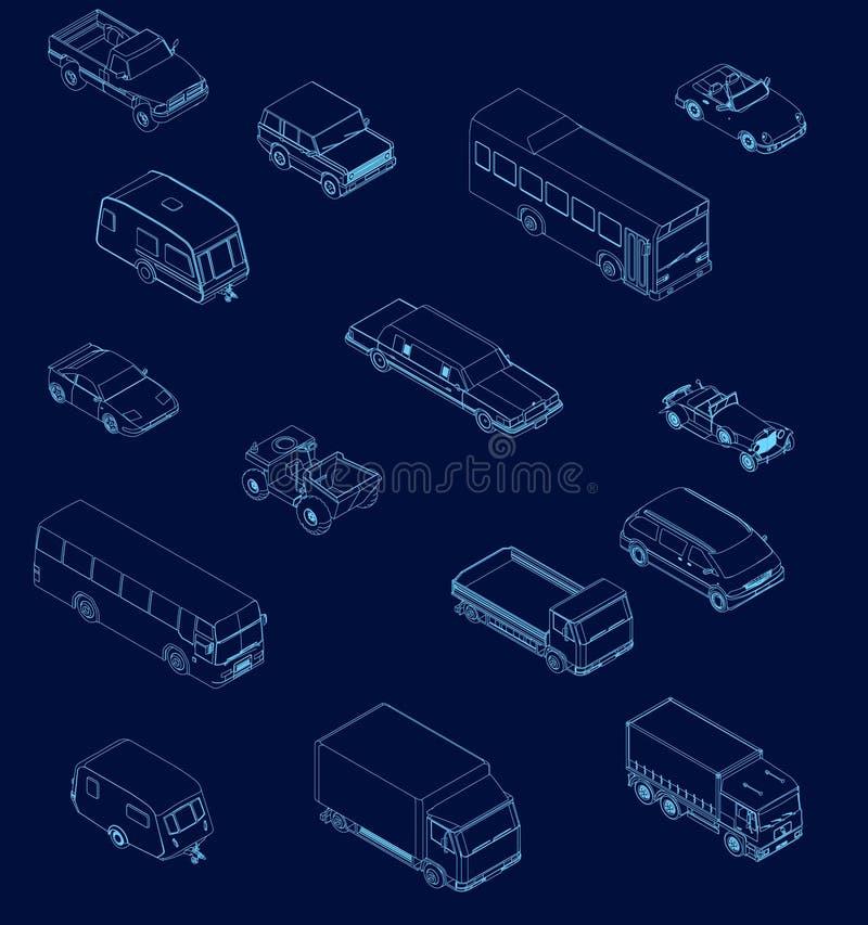 Fijado con contornos de coches en isometry Diversos tipos de coches de líneas azules en un fondo oscuro Ilustraci?n del vector stock de ilustración