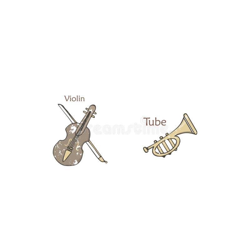 Fijado con de los instrumentos musicales de la orquesta aislados en el fondo blanco, el vector coloreó ejemplos de azules, de la  stock de ilustración