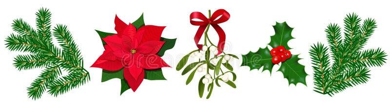 Fijado con la baya de la poinsetia, del acebo, el muérdago con las bayas y el arco rojo, ramas del abeto ilustración del vector