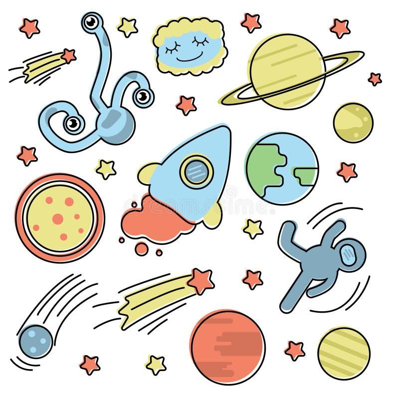 Fijado con la colección del espacio ilustración del vector