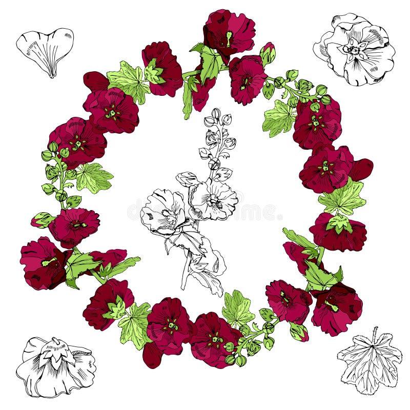 Fijado con la guirnalda, el ramo y las solas flores de la malva marrón y de hojas verdes Monocromo exhausto de la mano y bosquejo stock de ilustración