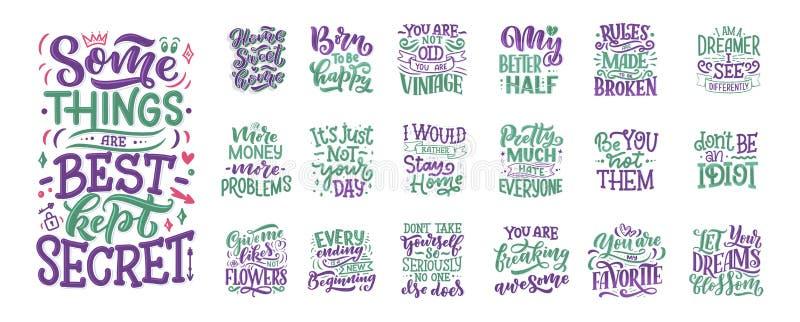 Fijado con los lemas de la diversión para el diseño de concepto Ilustraciones drenadas mano Citas modernas de la caligraf?a Dise? ilustración del vector