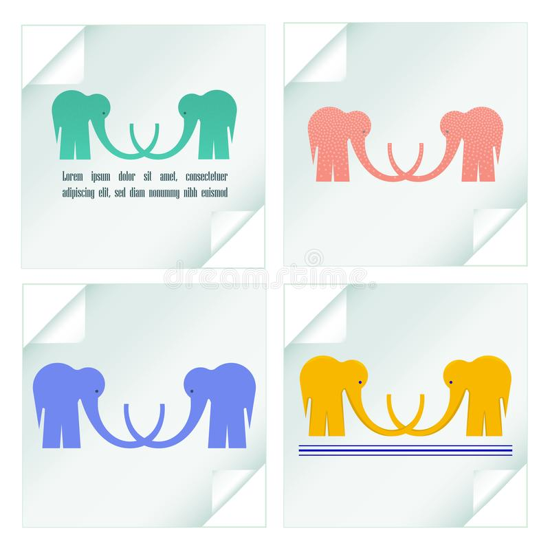 Fijado con los logotipos de los elefantes en etiquetas engomadas stock de ilustración