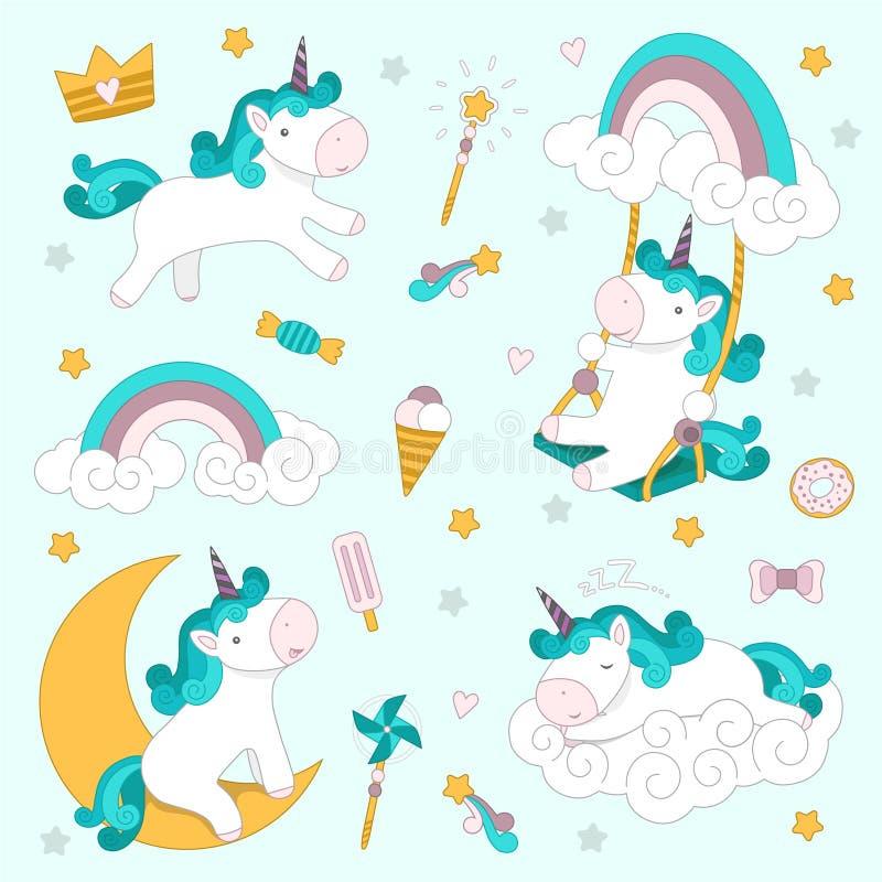 Fijado con unicornios, el arco iris, el helado y otros dulces Ilustración del vector foto de archivo