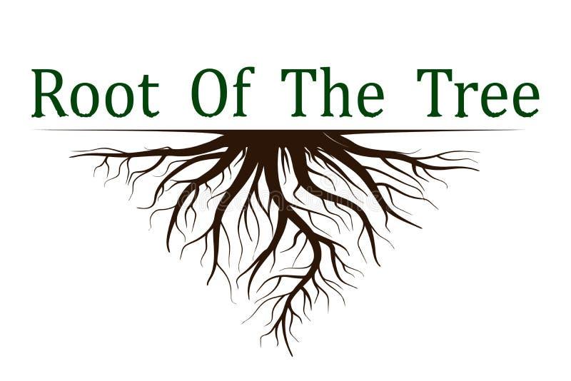 Fijado de árbol de la vida con las raíces Icono del ejemplo del vector aislado en el fondo blanco ilustración del vector