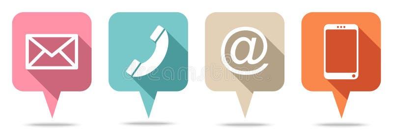 Fijado de cuatro burbujas del discurso entre en contacto con los colores retros ilustración del vector