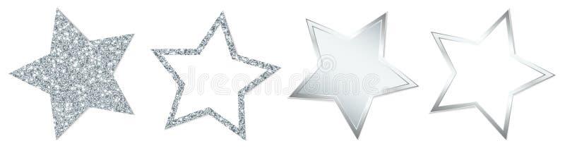 Fijado de cuatro estrellas de plata que chispean y que brillan ilustración del vector