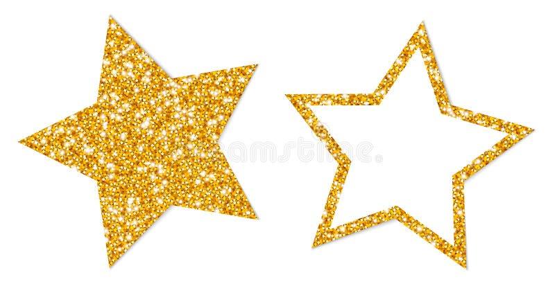 Fijado de dos chispear de oro de las estrellas llenados y de bastidor ilustración del vector