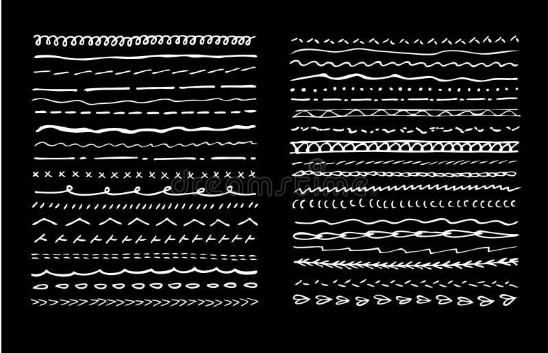 Fijado de drenaje de la mano subraye los movimientos o la máquina que cosen en blanco negro ilustración del vector