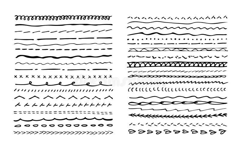 Fijado de drenaje de la mano subraye los movimientos o la máquina que cosen en blanco negro libre illustration