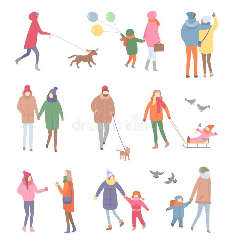 Fijado de gente que caminaba en vector del invierno aisló ilustración del vector
