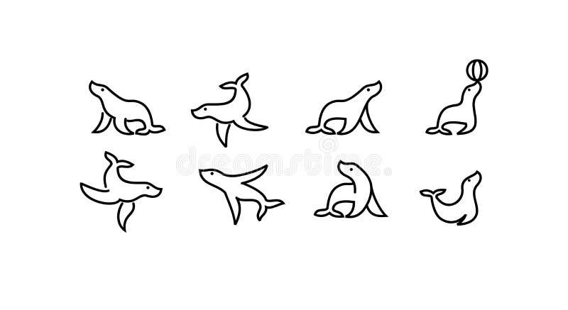 Fijado de la línea animal del esquema del negro del paquete de mar del sello con el icono simple del logotipo del shilouette dise stock de ilustración