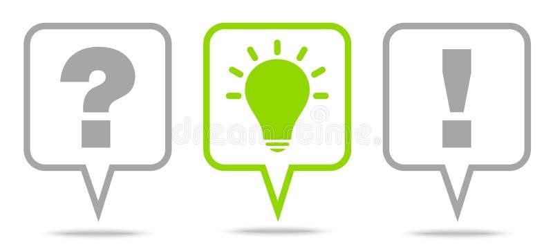Fijado de la respuesta Grey And Green Outline de la idea de la pregunta de tres burbujas del discurso ilustración del vector
