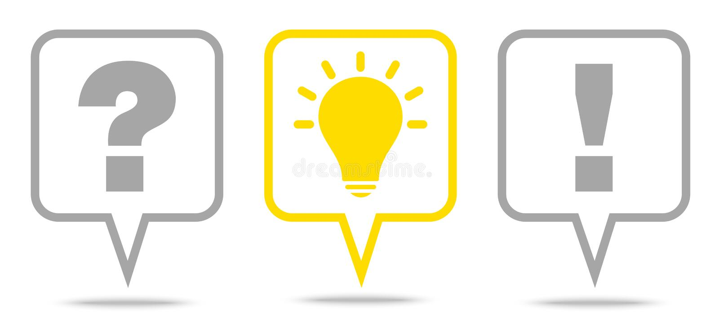 Fijado de la respuesta Grey And Yellow Outline de la idea de la pregunta de tres burbujas del discurso libre illustration