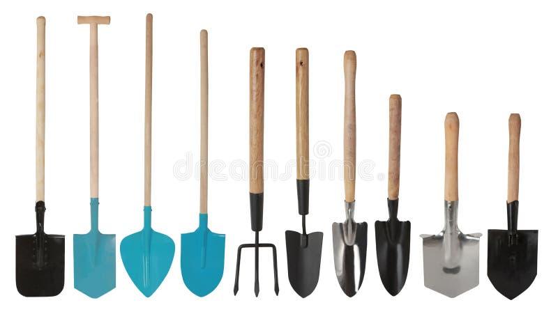 Fijado de las herramientas que cultivan un huerto, de las paletas de la mano y de la bifurcación de la mano aisladas imagen de archivo
