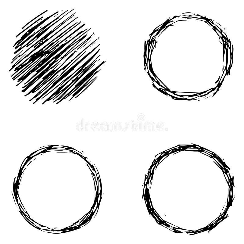 Fijado de los elementos áspero hechos del círculo, mano dibujada, negros ilustración del vector