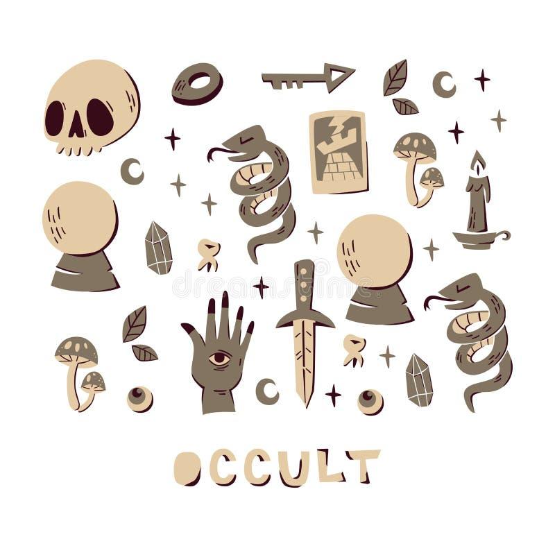 Fijado de los elementos mágicos exhaustos de la mano aislados en el fondo blanco libre illustration