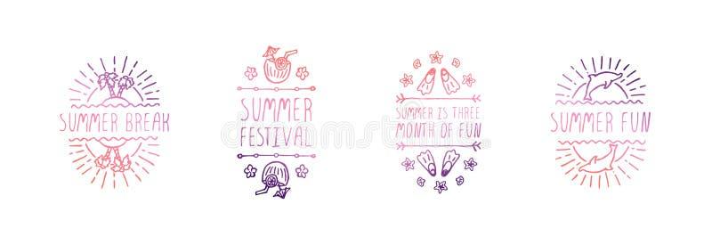 Fijado de los lemas dibujados mano del verano aislados en blanco ilustración del vector