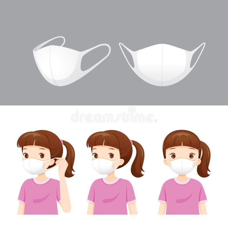 Fijado de máscara de la contaminación atmosférica N95 y de la máscara que lleva de la muchacha para proteja el polvo PM2 5, PM10, stock de ilustración