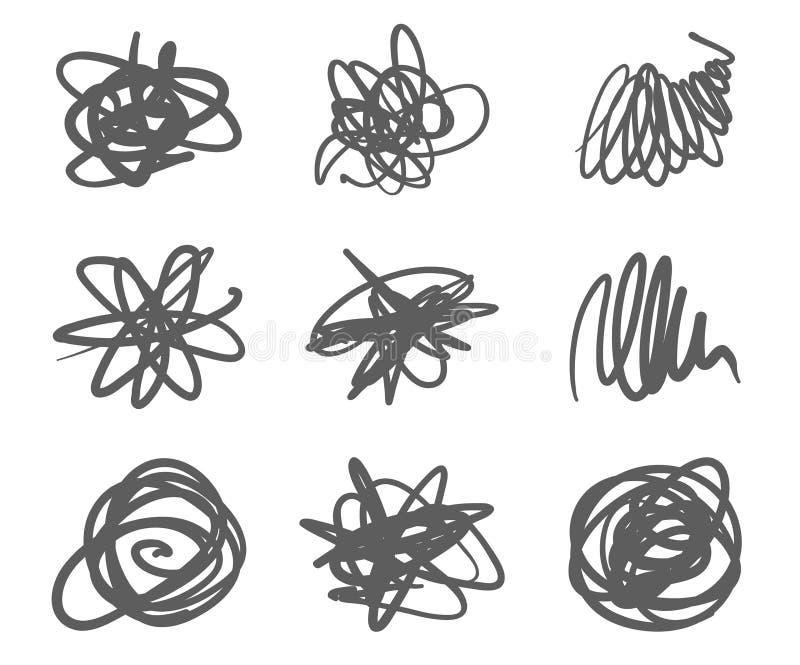 Fijado de manchas del garabato dé dibujado en la pluma, elementos del diseño del logotipo del vector libre illustration