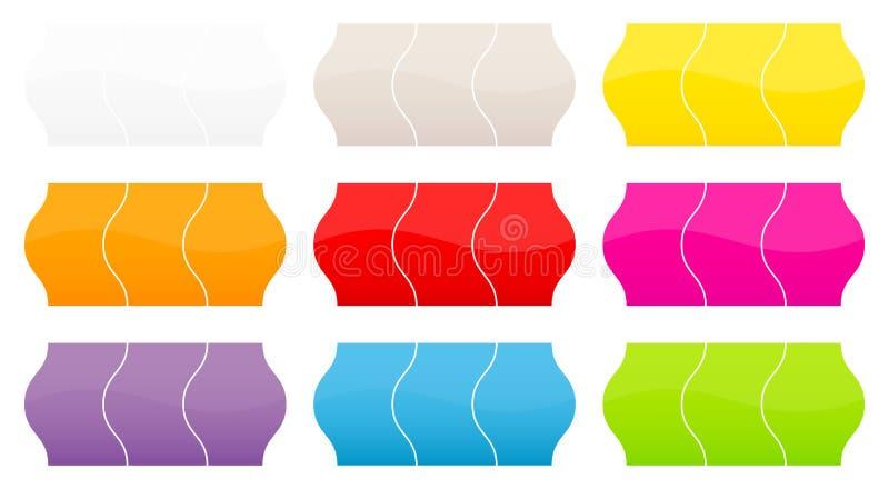 Fijado de nueve diversos colores de los precios ilustración del vector