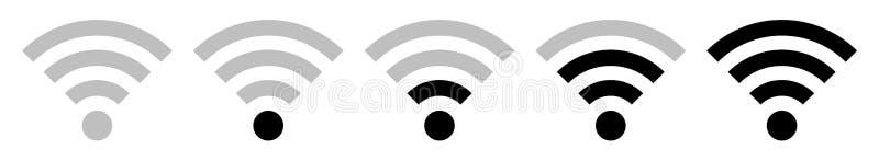 Fijado de señal negra del Wi-Fi de cinco iconos ilustración del vector