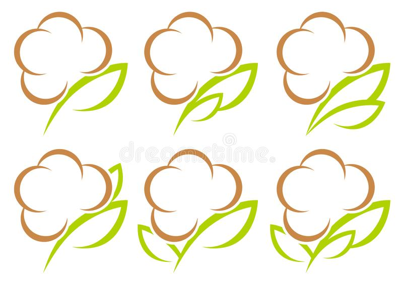 Fijado de seis iconos gráficos del algodón póngase verde y Browm ilustración del vector