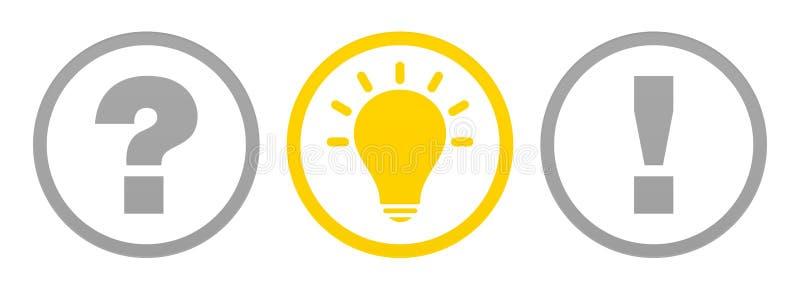 Fijado de tres botones pregunte la idea y la respuesta Gray And Yellow Outline ilustración del vector