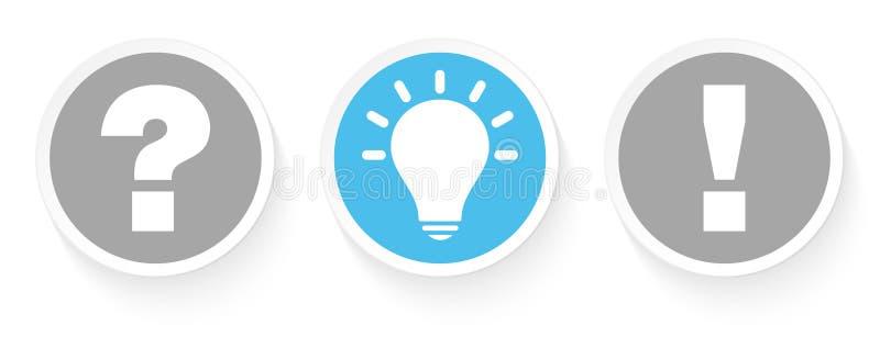 Fijado de tres botones pregunte la idea y la respuesta Grey And Blue stock de ilustración