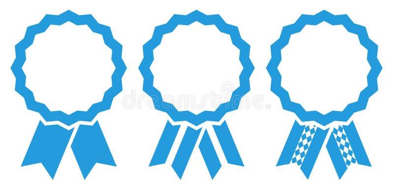 Fijado de tres insignias del premio de Oktoberfest del gráfico enmarque azul stock de ilustración