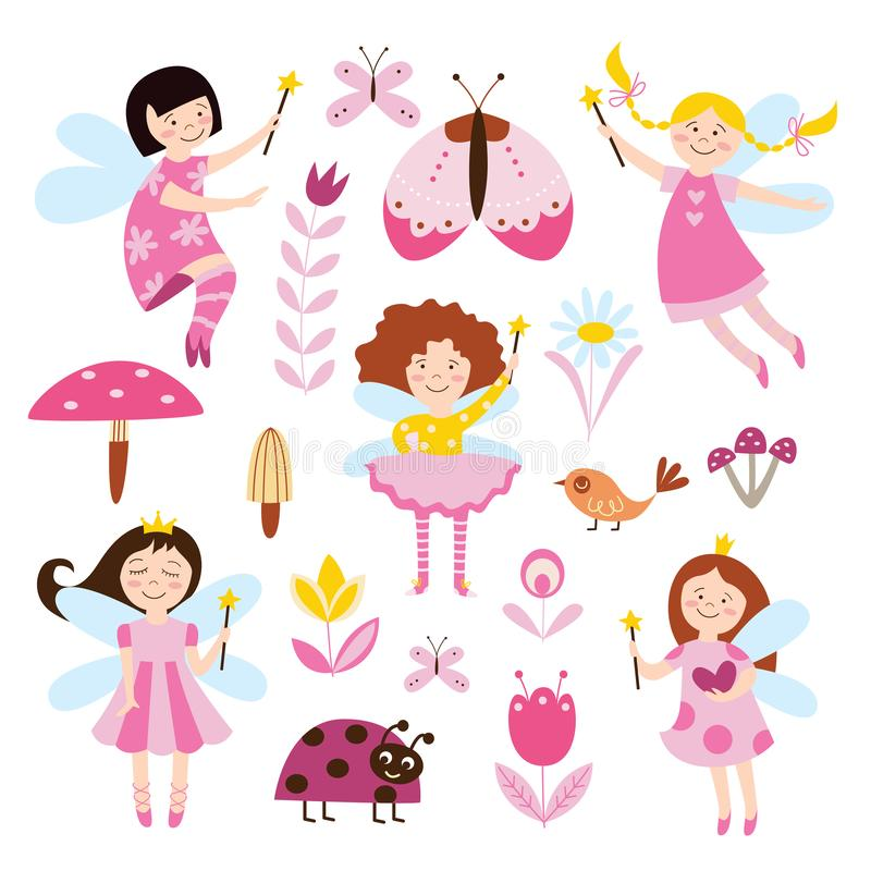 Fijado del ejemplo plano del vector de las muchachas, de las flores y de los escarabajos de las hadas aislado, libre illustration