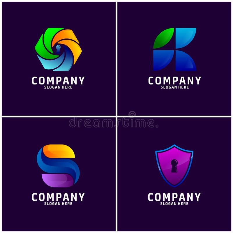 Fijado del negocio Logo Design stock de ilustración