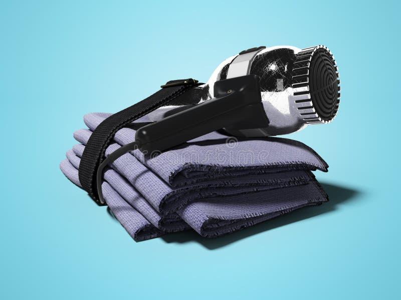 Fijado en el hotel para las toallas de secador del cabello seco 3d rinda en fondo azul con la sombra ilustración del vector