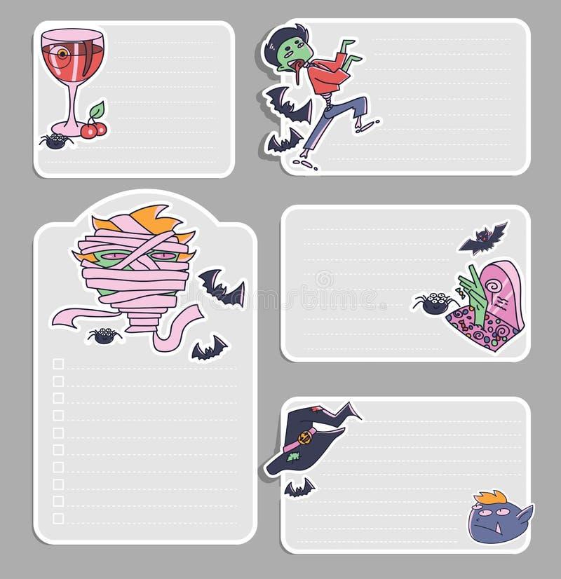 Fijado en plantillas de las notas con los garabatos de Halloween Etiquetas engomadas d del vector stock de ilustración