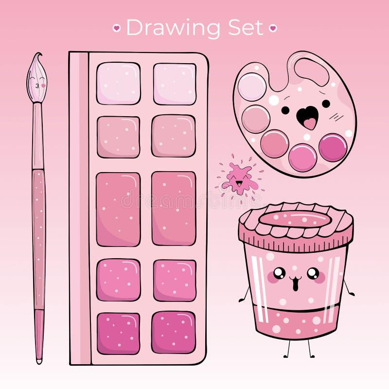Fijado para dibujar de cuatro objetos en el estilo de Kawai stock de ilustración
