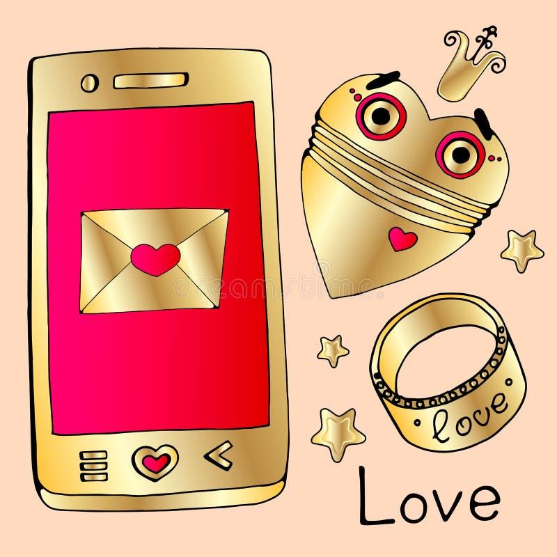 Fijado para el día de todos los amantes oro, joyas, diamantes, oro, anillo, teléfono de oro, robot de oro, corazón del robot, cor ilustración del vector