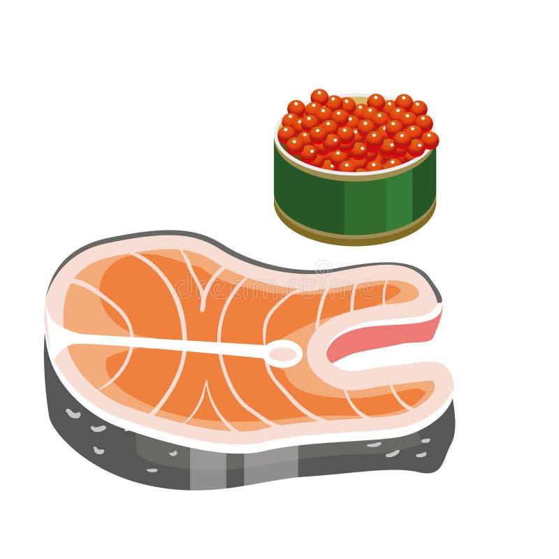 Fijado para una gran dieta durante prestado alimento dietético Los días pasados usted puede comer el caviar y pescados Pescados e stock de ilustración