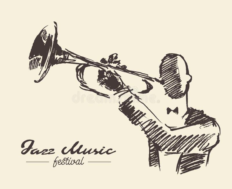 Fije al hombre que juega bosquejo dibujado mano del vintage de la trompeta stock de ilustración